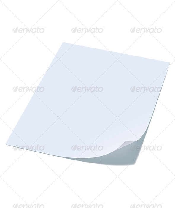 Blank Sheet of Paper with Curl - Man-made Objects Objects
