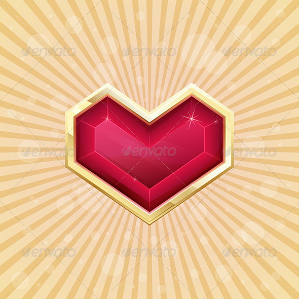 Golden Heart - Objects Vectors