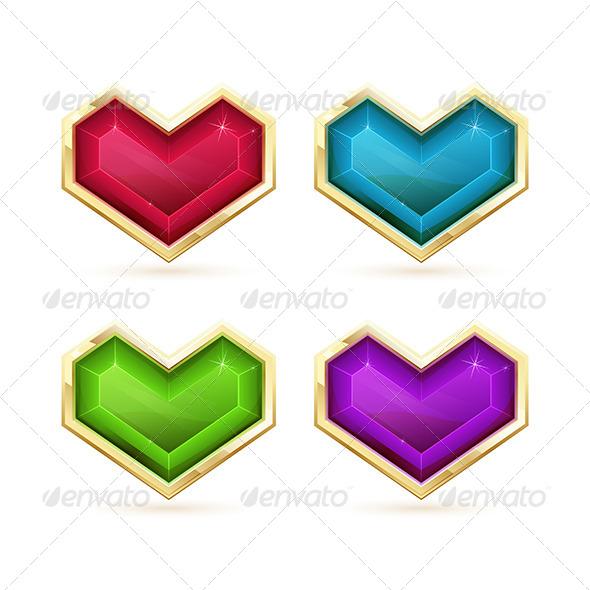 Golden Hearts - Objects Vectors