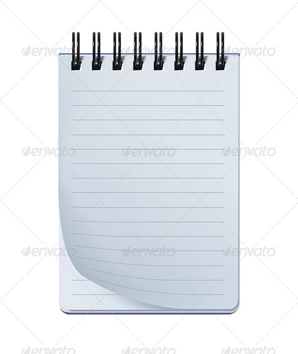 Open Notepad Isolated on White - Man-made Objects Objects