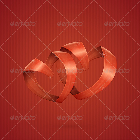 Hearts Ribbon - Decorative Vectors