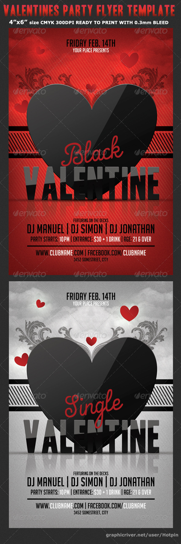 Black Valentine Party Flyer Template - Flyers Print Templates