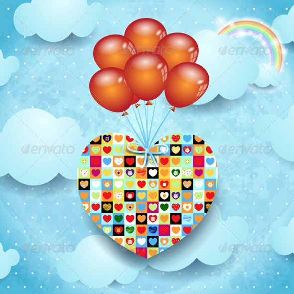 Heart and Balloons on Sky Background - Valentines Seasons/Holidays