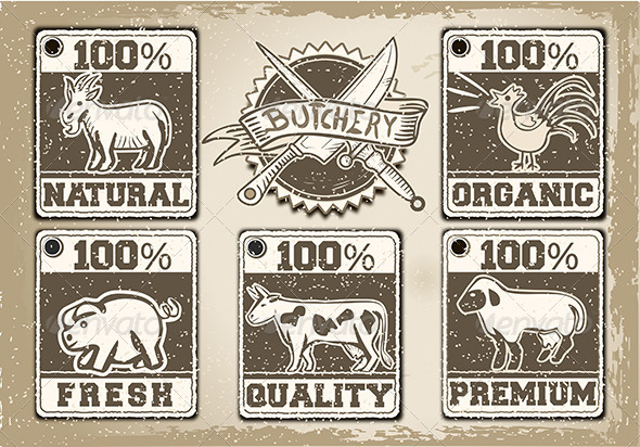 Vintage Butcher Shop Label - Decorative Vectors