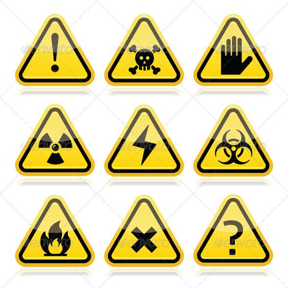 Danger Risk Warning Traingle Signs Set - Abstract Conceptual