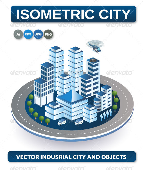 Isometric View of the City - Buildings Objects