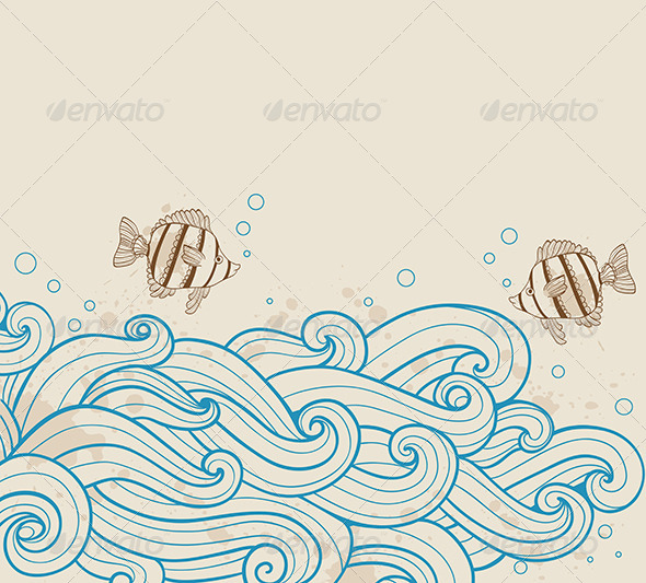 Sea Background with Fishes - Animals Characters