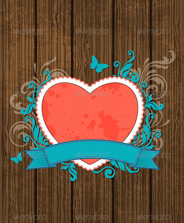 Wooden Background with Red Heart - Valentines Seasons/Holidays