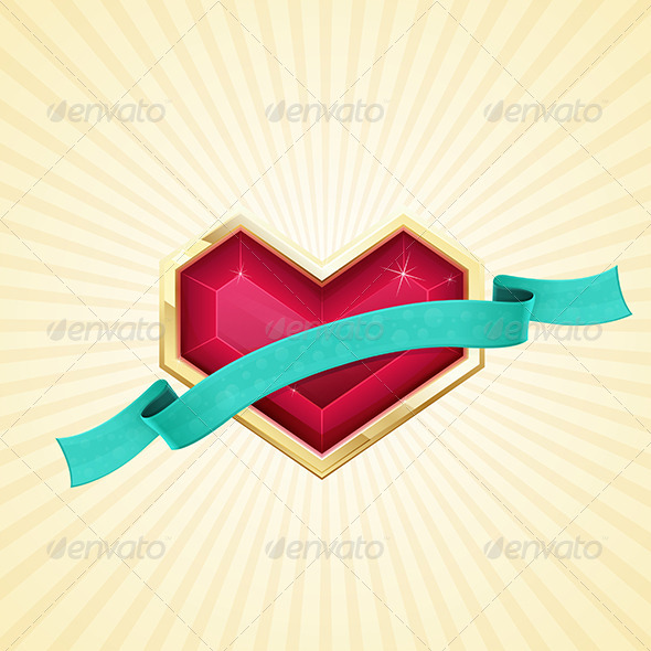Golden Heart and Ribbon - Objects Vectors