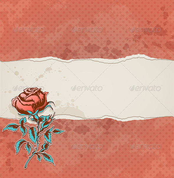 Background with Torn Paper and Rose - Backgrounds Decorative