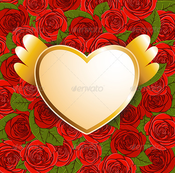 Background with Red Roses and Heart - Valentines Seasons/Holidays
