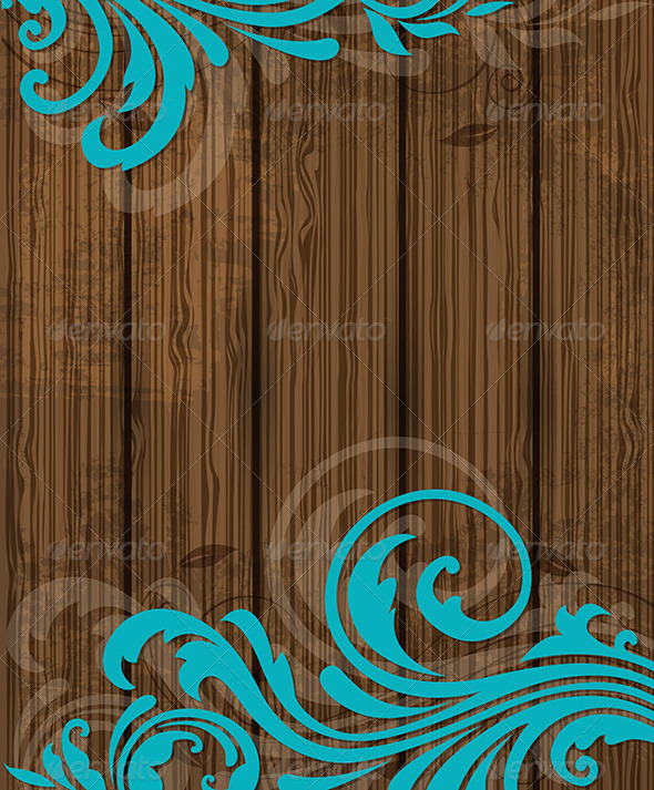 Wooden Background with Floral Ornament - Backgrounds Decorative