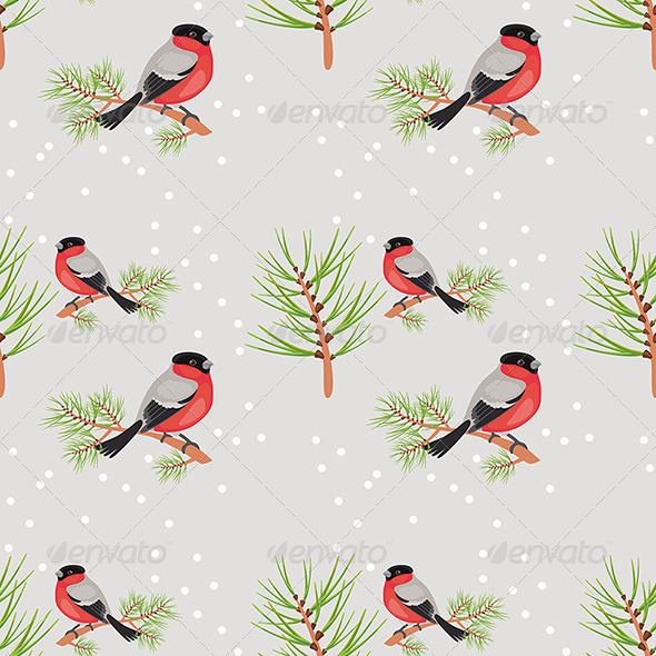 Bullfinch Seamless Background - Patterns Decorative