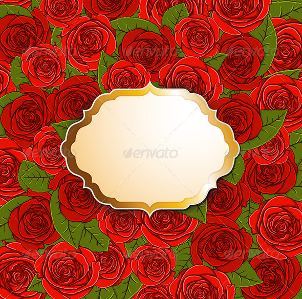 Background with Red Roses and Label - Backgrounds Decorative