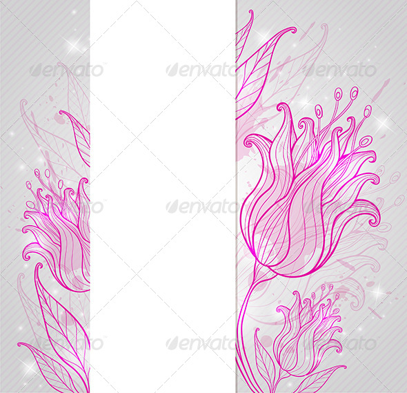 Background with Pink Hand Drawn Tulips - Backgrounds Decorative
