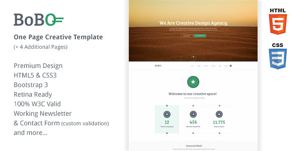 Bobo – One Page Retina Ready Creative Template