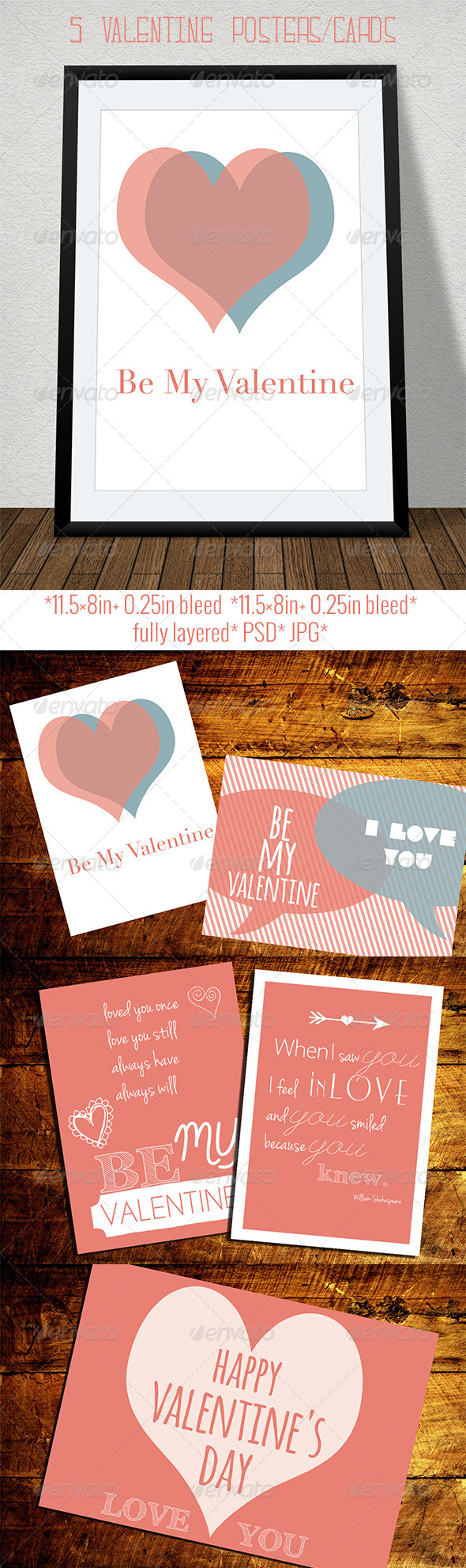 Set of Retro Valentine's Day Cards and Posters - Holiday Greeting Cards