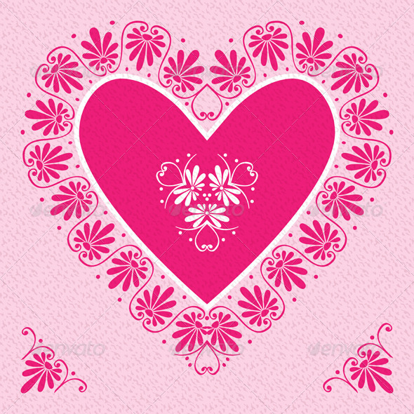 Valentine's Day Card with Pink Heart - Valentines Seasons/Holidays