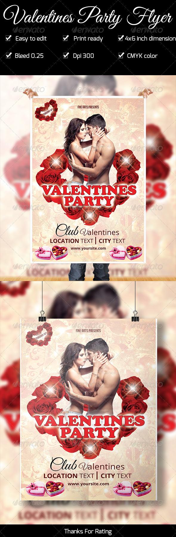 Valentines Party Flyer - Flyers Print Templates