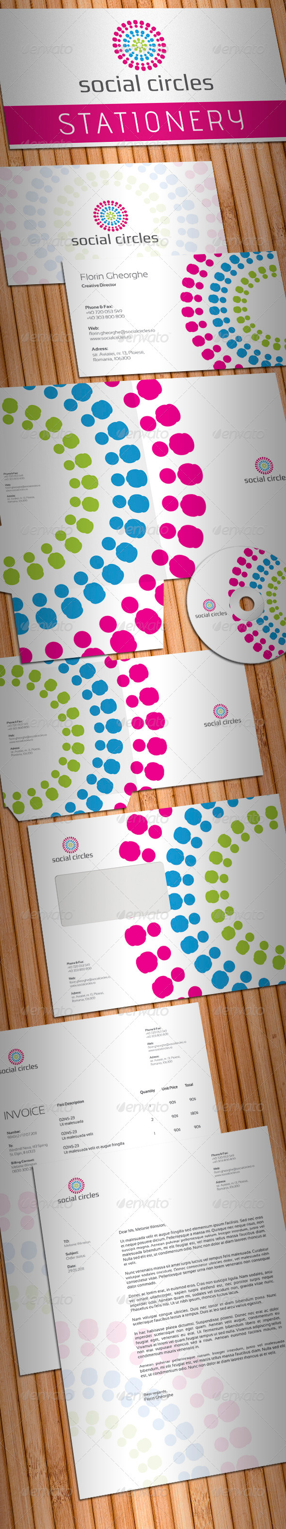 Social Circles Stationery - Stationery Print Templates