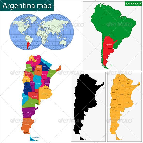 Argentina Map - Travel Conceptual