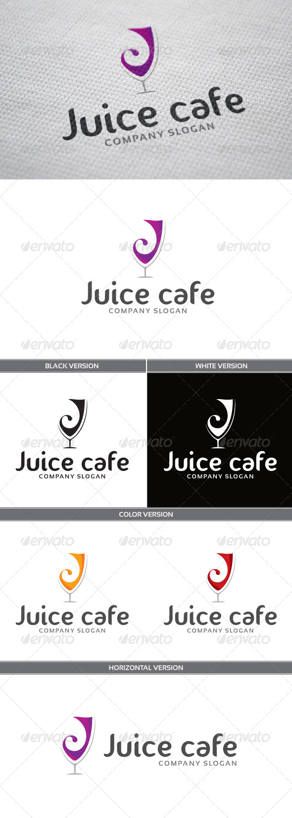 Juice Cafe Logo - Letters Logo Templates