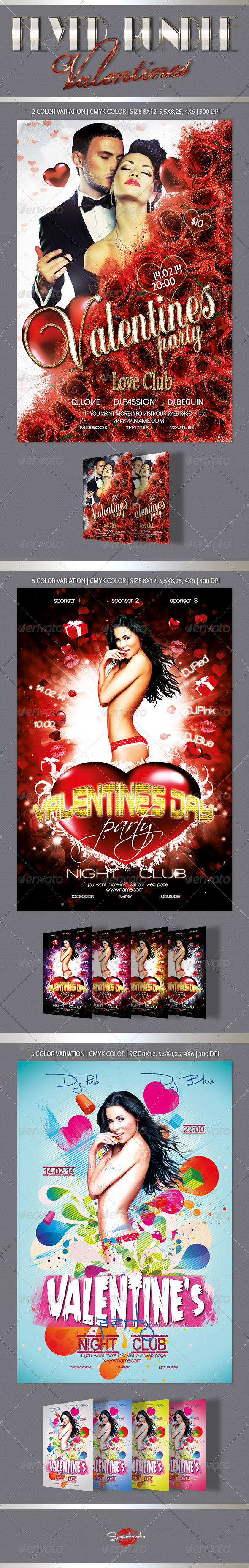 Valentine's Flyers Bundle - Holidays Events