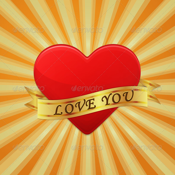 Heart with Ribbon and Phrase Love You - Vectors
