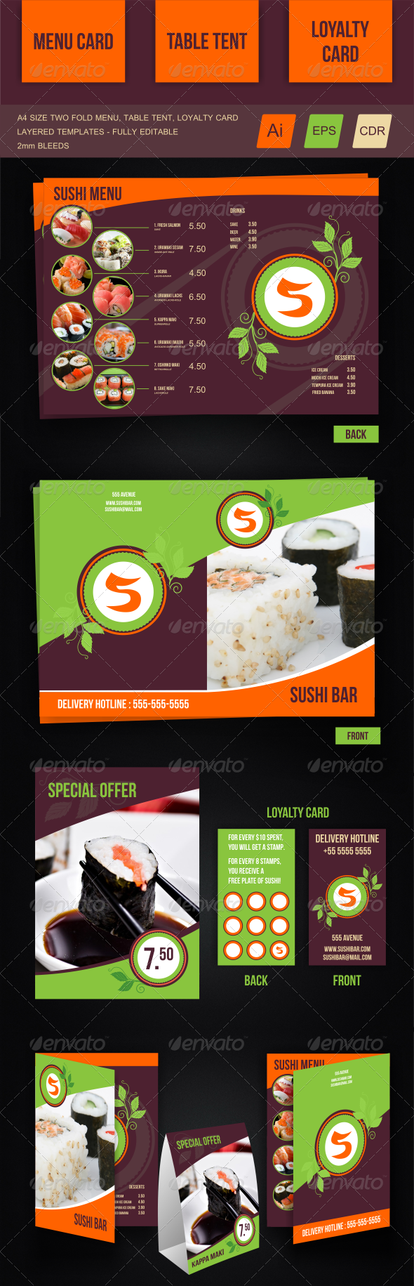 Sushi Menu Template - Food Menus Print Templates