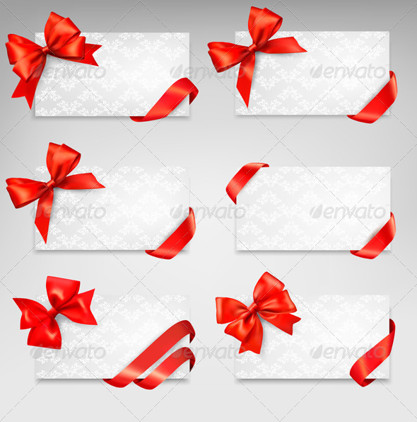 Collection of Gift Cards with Red Ribbons  - Man-made Objects Objects