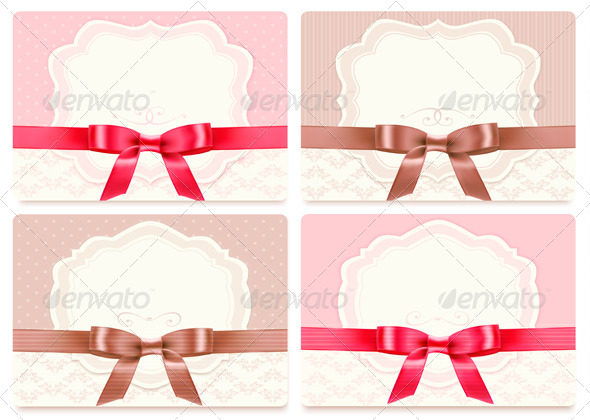 Collection of Gift Cards with Ribbons Background - Seasons/Holidays Conceptual