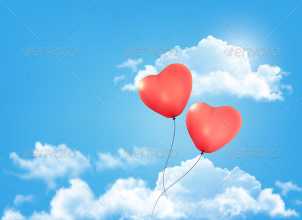 Valentine Heart-Shaped Balloon in a Blue Sky - Valentines Seasons/Holidays