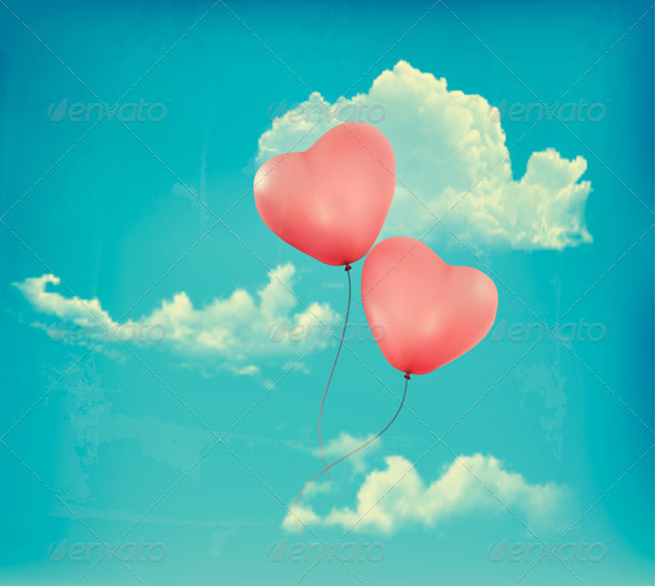 Valentine Heart-Shaped Baloons in a Blue Sky - Valentines Seasons/Holidays