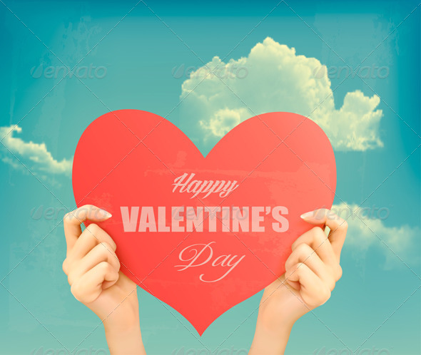 Two Hands Holding Red Heart - Valentines Seasons/Holidays