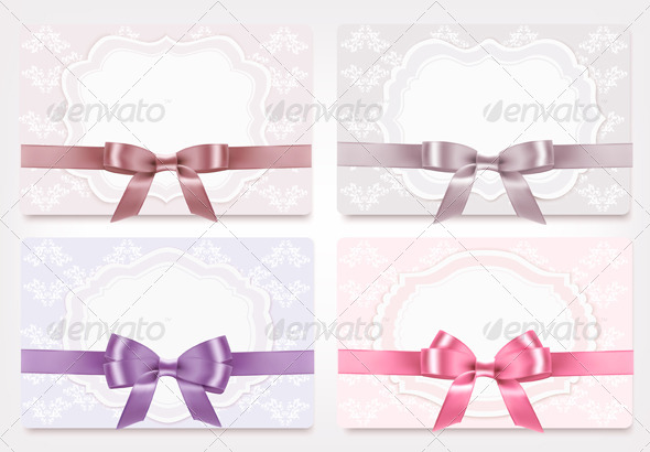 Collection of Gift Cards with Ribbons and Bows - Seasons/Holidays Conceptual