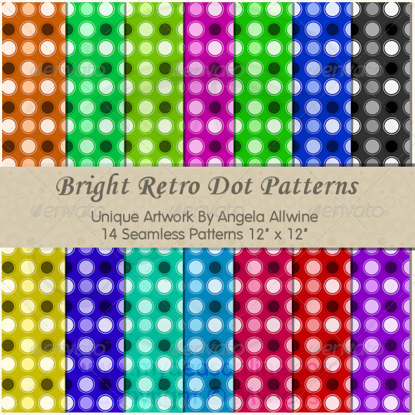 Bright Retro Dots Pattern Set - Patterns Backgrounds