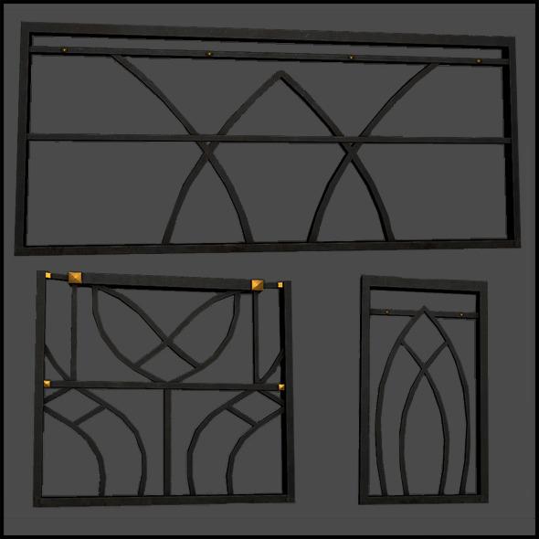 Metal Railing Set - 3DOcean Item for Sale