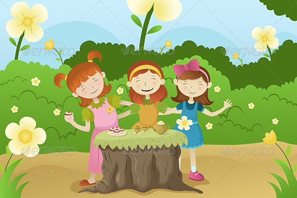 Girls Having a Garden Party - People Characters