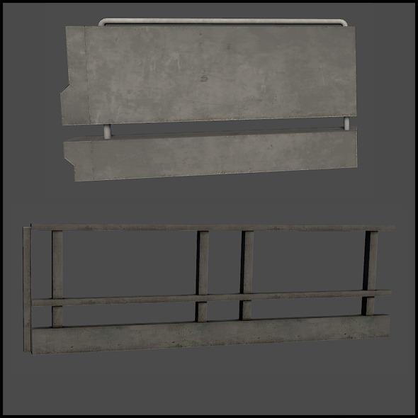 Concrete Railing - 3DOcean Item for Sale