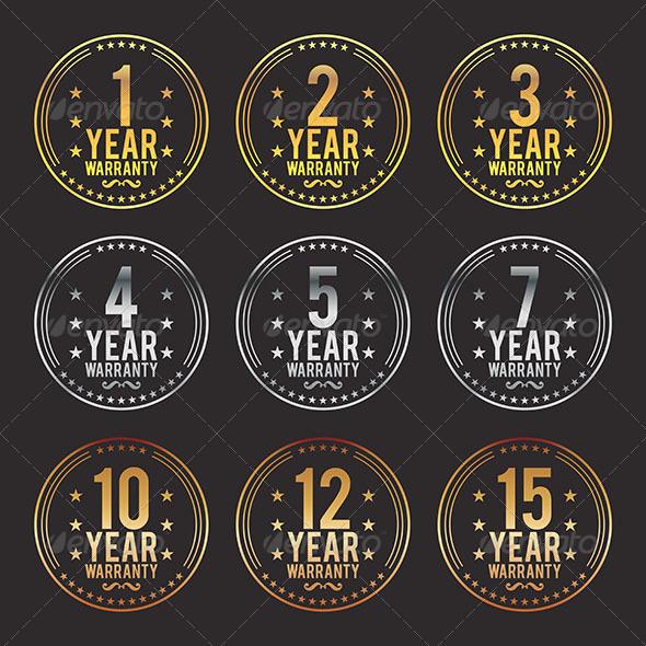 Gradient Warranty Badges - Decorative Symbols Decorative