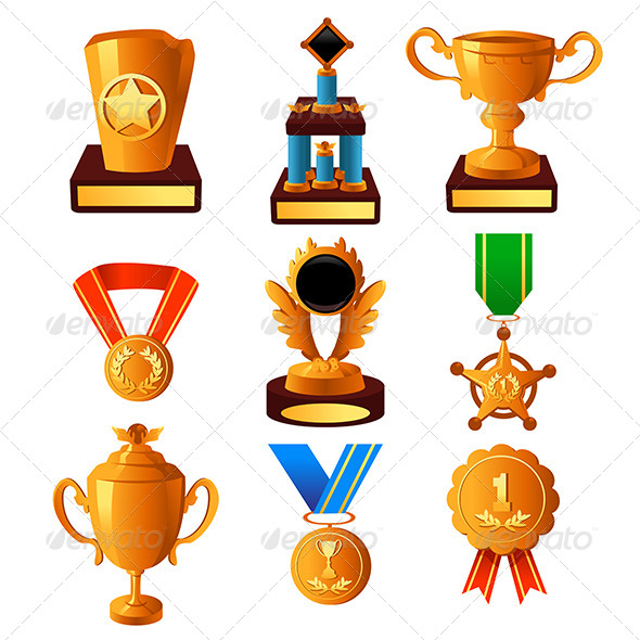 Gold Medal and Trophy Icons - Objects Vectors