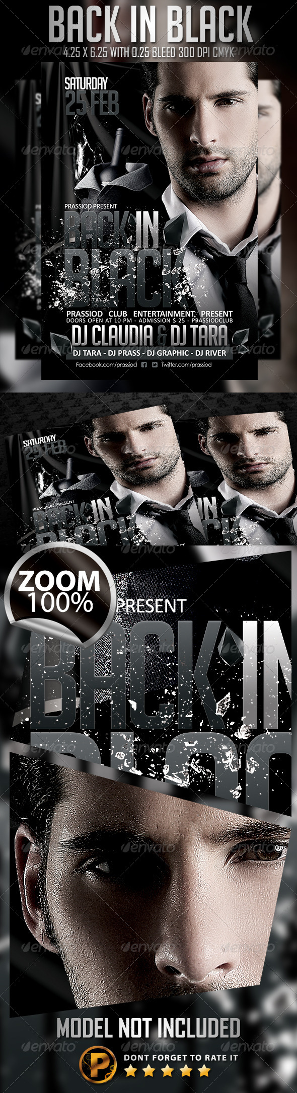Back In Black Flyer Template - Clubs & Parties Events