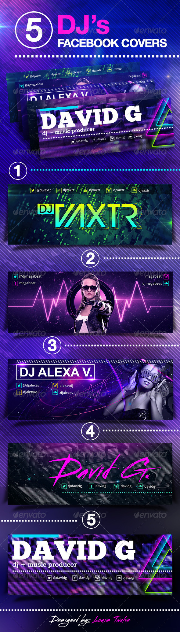 5 Dj's Facebook Covers  - Facebook Timeline Covers Social Media