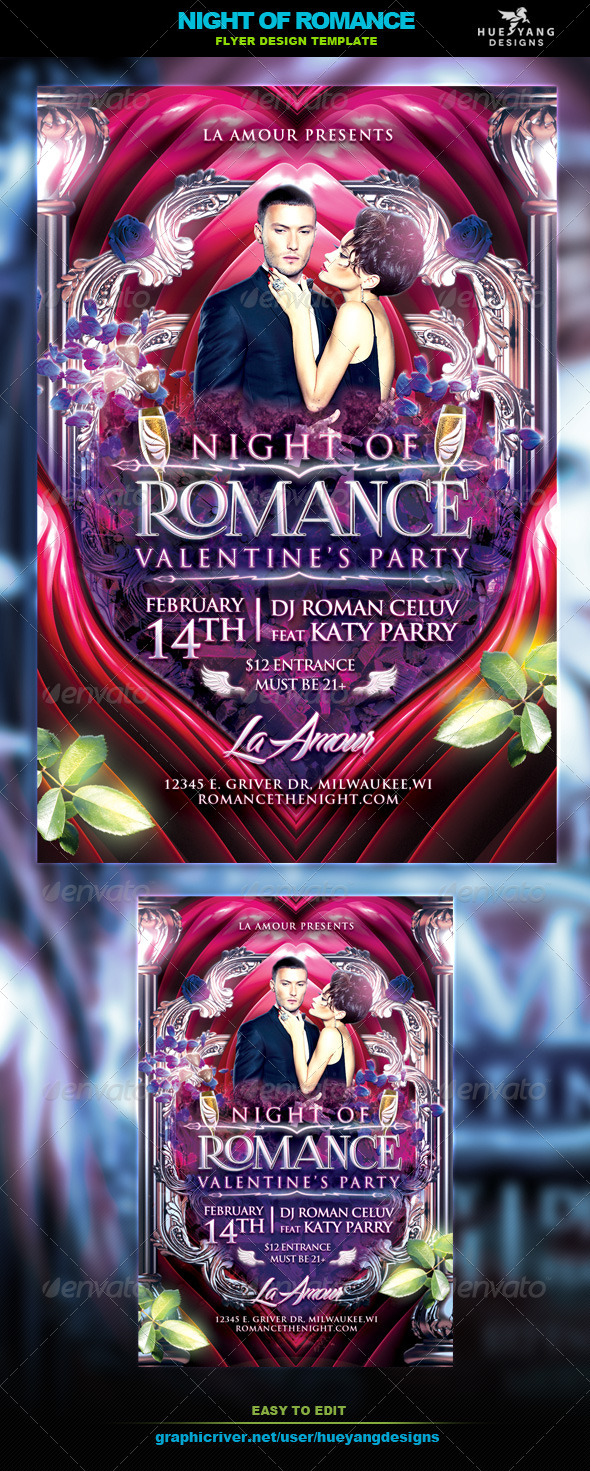 Night Of Romance Flyer - Clubs & Parties Events