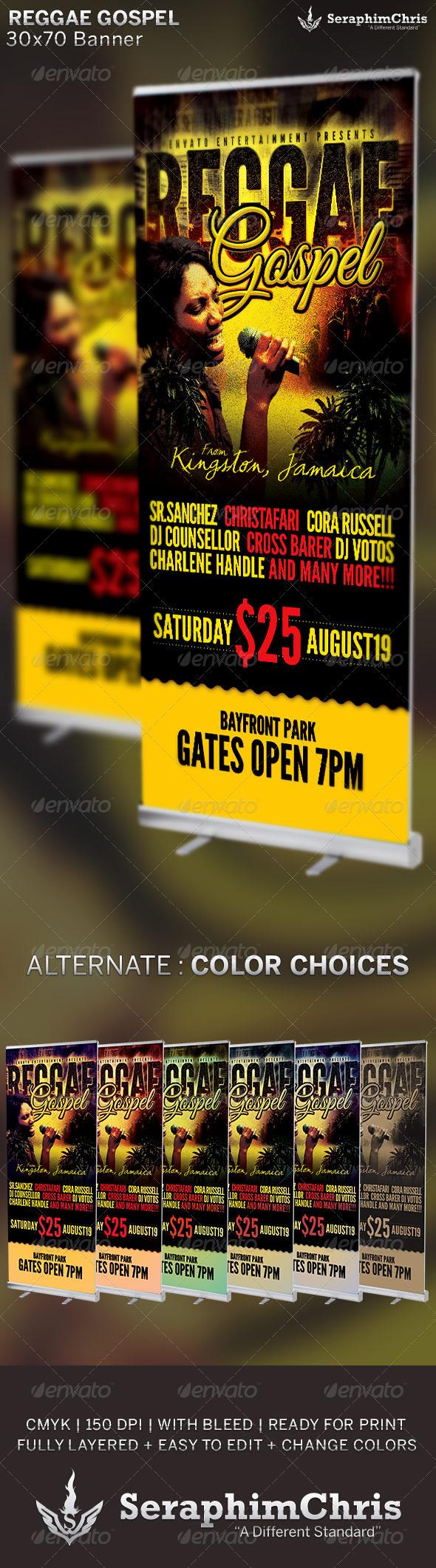 Reggae Gospel Concert: Banner Template - Signage Print Templates