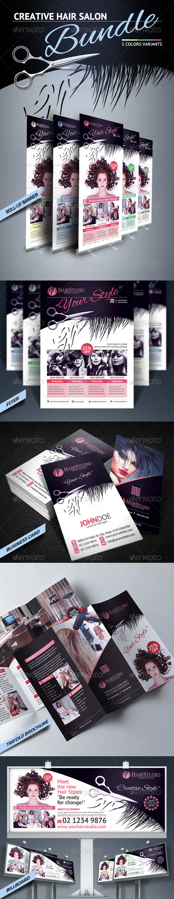 Hair Salon Bundle - Stationery Print Templates