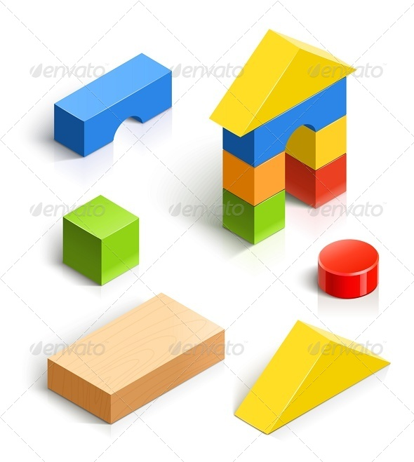 Brick House. Wooden Toy Set - Man-made Objects Objects