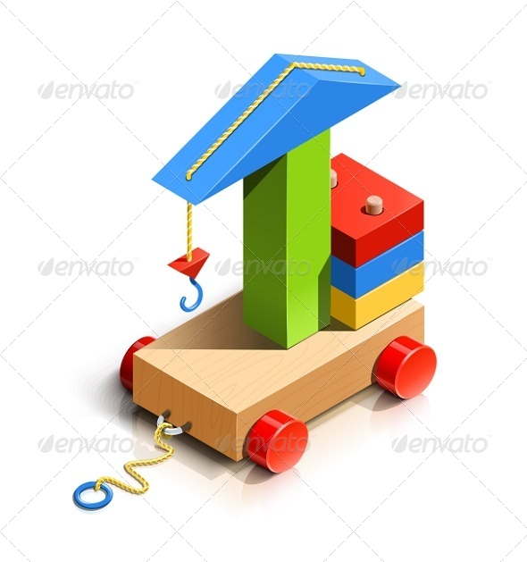 Lifting Crane, Wooden Toy - Man-made Objects Objects