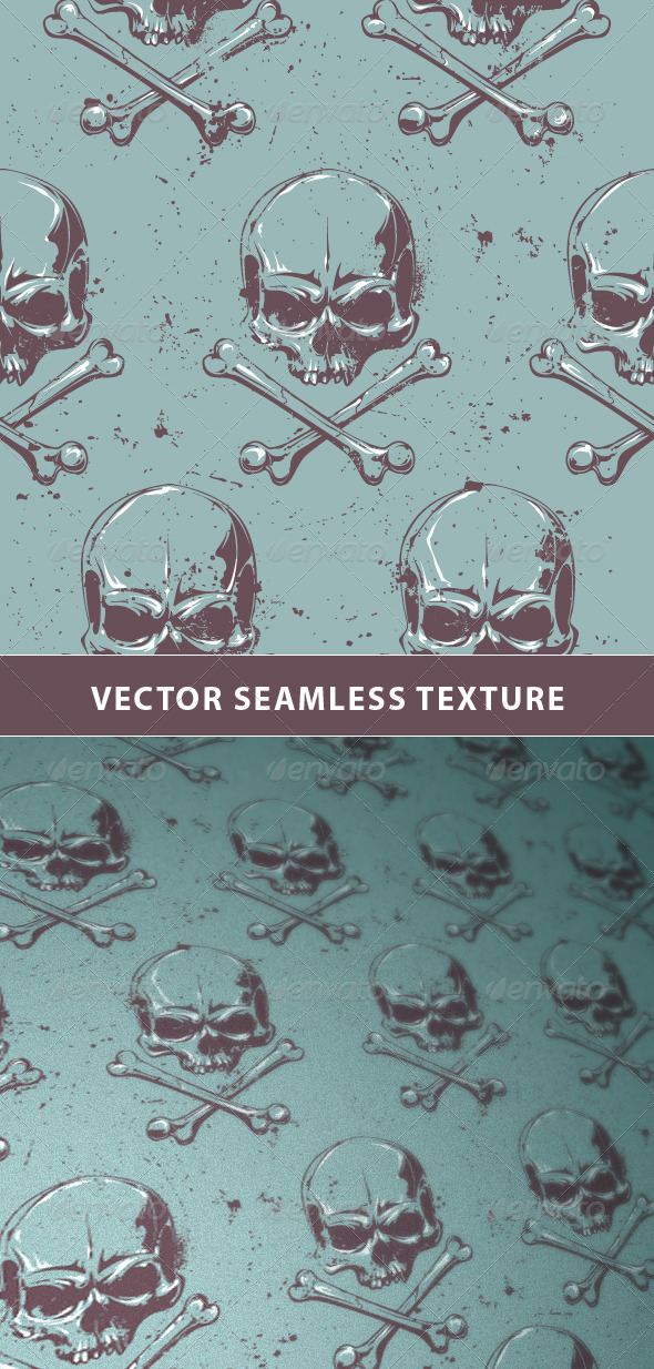Seamless Pattern with Grunge Skulls - Patterns Decorative