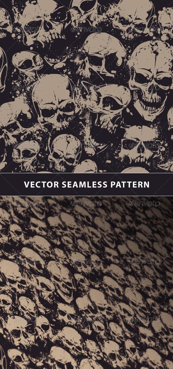 Seamless Pattern with Grunge Skulls - Patterns Decorative
